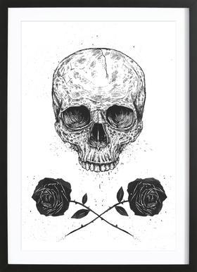 Skull N' Roses Poster in Wooden Frame