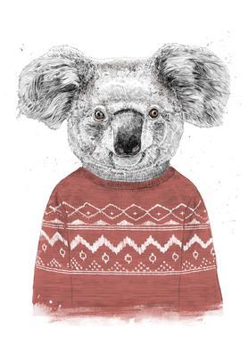 Winter Koala Red Canvas Print