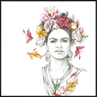 Flowered Frida Framed Poster