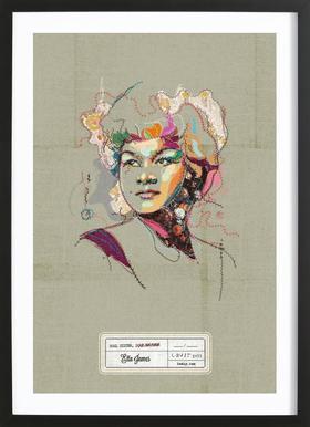 Etta Portrait Poster in houten lijst