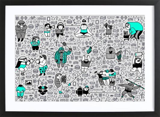 Kool Kids Pattern Affiche sous cadre en bois