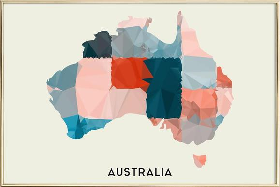 australia as poster in standard frame by in full color juniqe