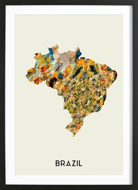 Brazil Poster in Wooden Frame
