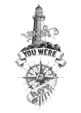 Wish you were here hand-lettering Postcard Set   JUNIQE