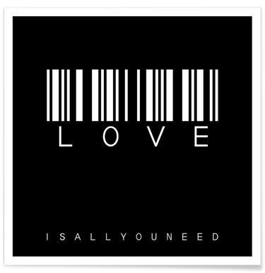 Barcode LOVE Black -Poster