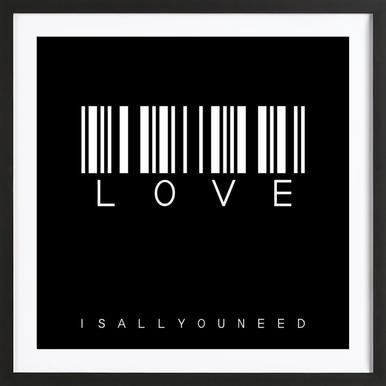 Barcode LOVE Black Poster im Holzrahmen