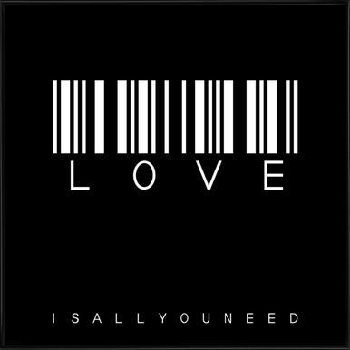 Barcode LOVE Black -Bild mit Kunststoffrahmen