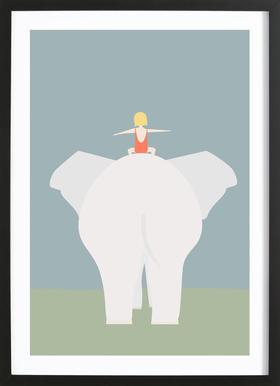 Den Lille Pige Og Elefanten Affiche sous cadre en bois