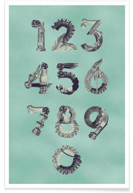 Steampunk Numbers 0-9 Affiche