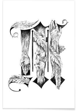 blackletter m drawing birgit palma premium poster