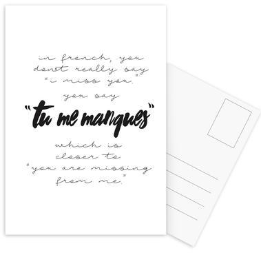 Tu Me Manques Set de cartes postales