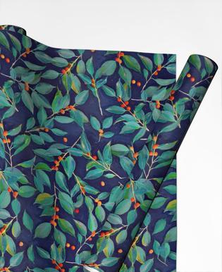 Leaves & Berries on Blue Gift Wrap