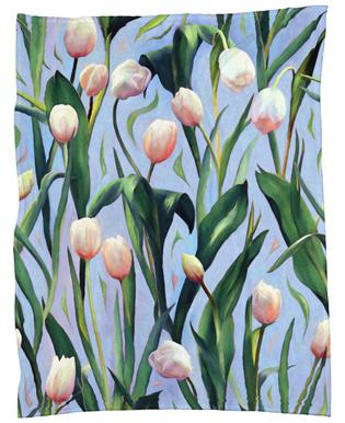 Waiting On The Blooming – Tulip Pattern Fleece Blanket