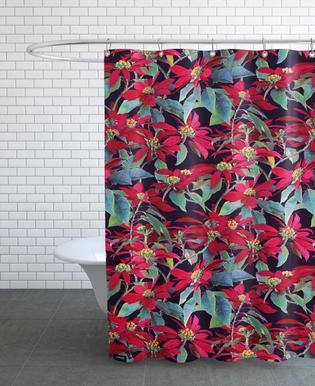 Painted Christmas Poinsettias As Shower Curtain