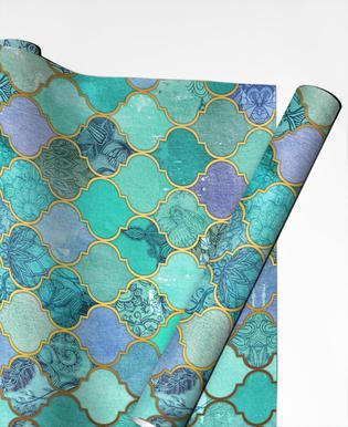 Mint Moroccan Tile Pattern Gift Wrap