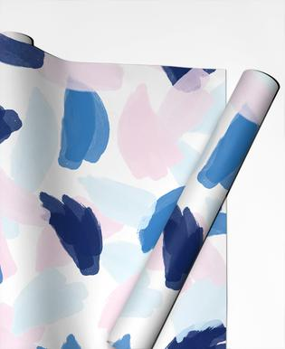 Blue and Pink Paint Gift Wrap