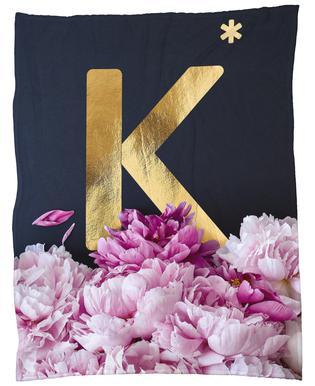 Flower Alphabet K Fleece Blanket