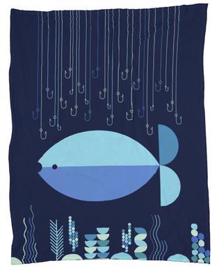 Fish & Hooks Fleece Blanket