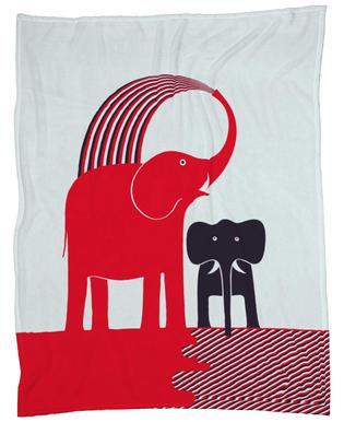 Red Elephant Fleece Blanket