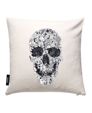 Doodle Skull BW Cushion Cover