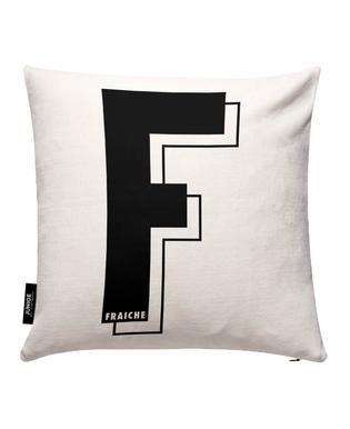 Lettre F I black on white Housse de coussin