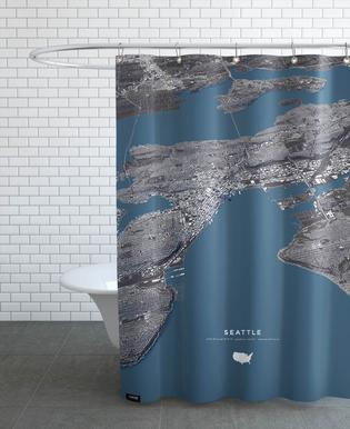 Seattle Color City Map As Shower Curtain By Maptastix