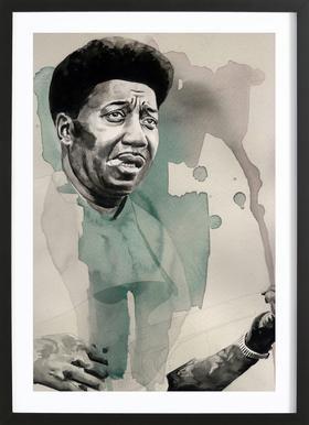 Muddy Waters Affiche sous cadre en bois