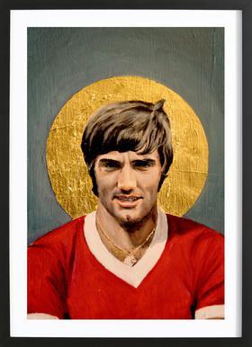 Football Icon - George Best affiche sous cadre en bois