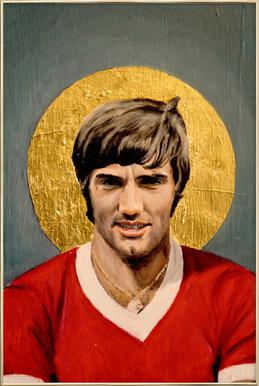 Football Icon - George Best Poster in Aluminium Frame