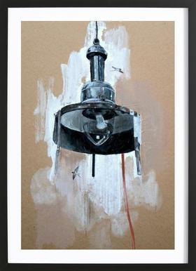 Velo Grablje - Gas Lamp Affiche sous cadre en bois