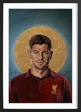 Football Icon - Steven Gerrard Poster in houten lijst