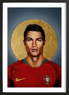 Football Icon - Cristiano Ronaldo Poster in houten lijst