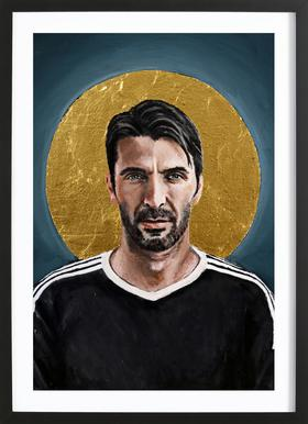 Football Icon - Buffon Poster in Wooden Frame