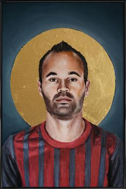 Football Icon - Iniesta Poster in Standard Frame