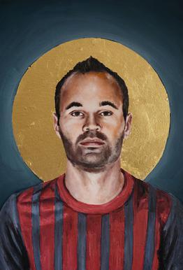 Football Icon - Iniesta Impression sur alu-Dibond