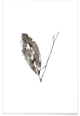 V - Alphabet en feuilles affiche