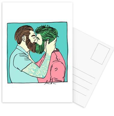 Men Kiss 2 Postcard Set