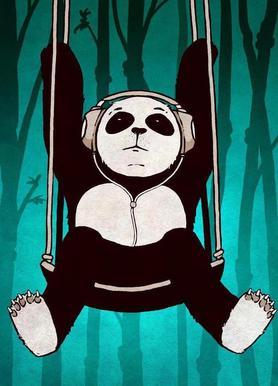 Panda swing canvas doek