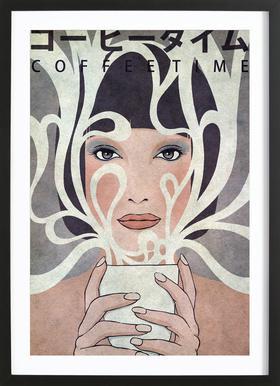 Coffee Time Poster im Holzrahmen