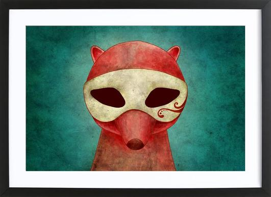 Death As A Fox In A Mask Poster im Holzrahmen