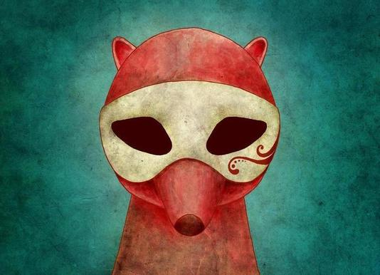 Death As A Fox In A Mask Canvas print