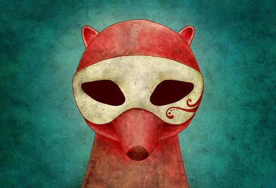 Death As A Fox In A Mask acrylglas print