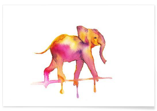 Elephant Watercolour Poster