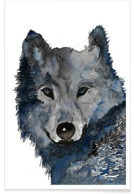 Night Wolf Watercolour Poster
