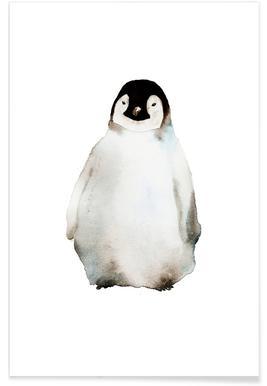 Penguin Watercolour Poster