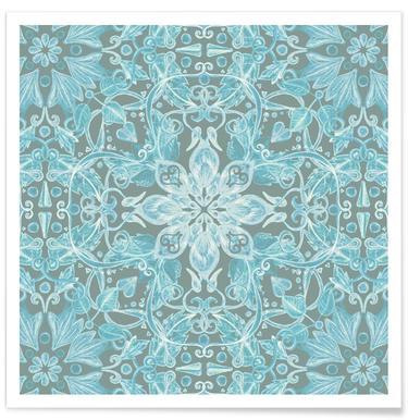 Motif floral bleu et gris doux affiche