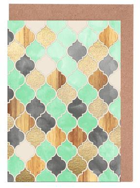 Textured Moroccan Pattern Greeting Card Set