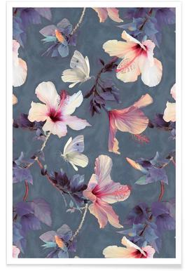 Motif papillons et hibiscus affiche
