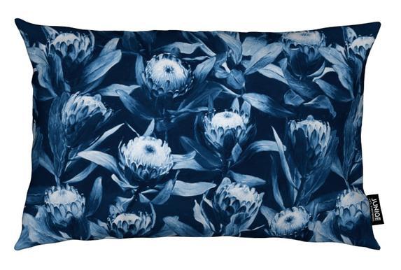 Evening Proteas - Denim Blue Cushion
