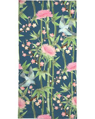 Bamboo Birds and Blossom Teal som Vykort satt  312822f273f03